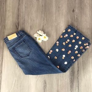 NWT Michael Kors Embellished  flare Cropped Jeans✨